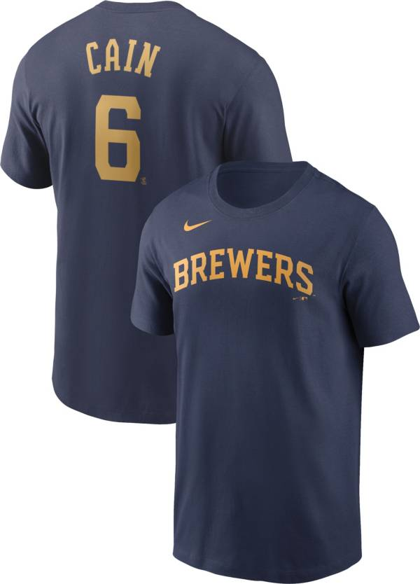 Nike Men's Milwaukee Brewers Lorenzo Cain #6 Navy T-Shirt product image
