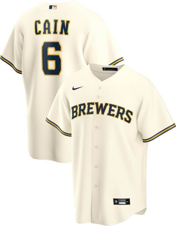 Nike Men's Replica Milwaukee Brewers Lorenzo Cain #6 Cool Base White Jersey product image