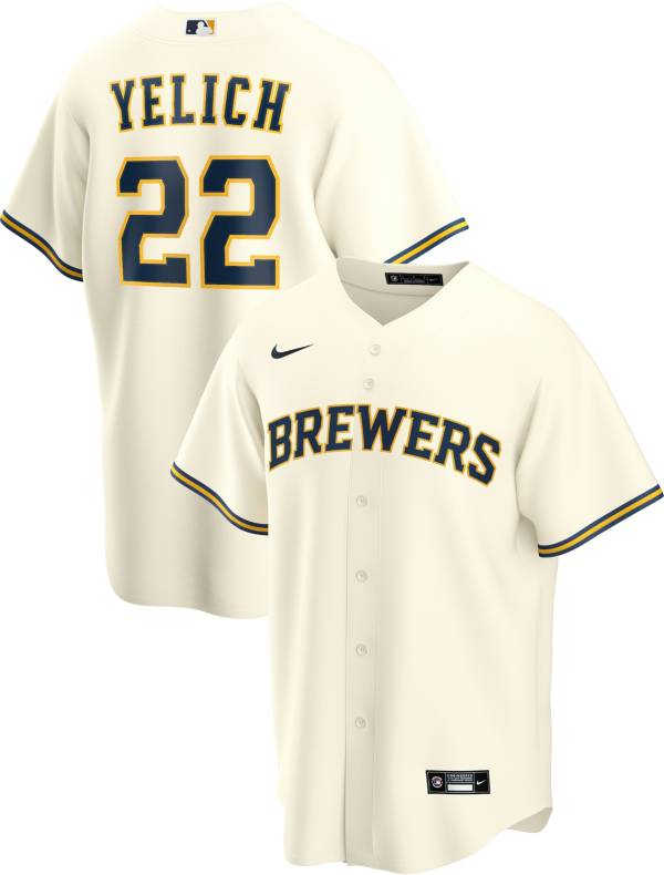 Nike Men's Replica Milwaukee Brewers Christian Yelich #22 Cool Base White Jersey product image
