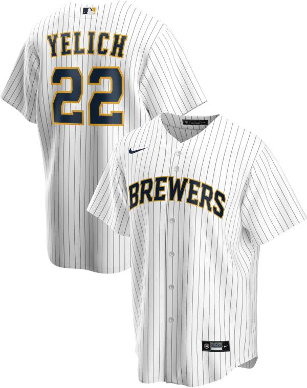 Nike Men's Replica Milwaukee Brewers Christian Yelich #22 Cool Base Pinstripe White Jersey product image