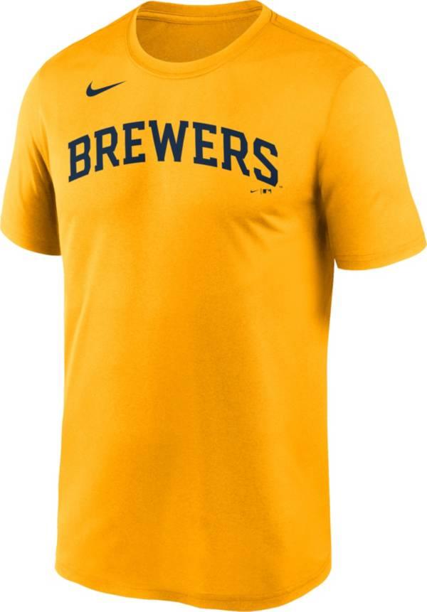 Nike Men's Milwaukee Brewers Yellow Wordmark Legend Dri-FIT T-Shirt product image