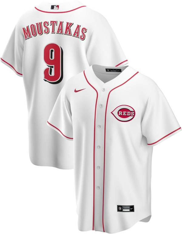 Nike Men's Replica Cincinnati Reds Mike Moustakas #9 Cool Base White Jersey product image