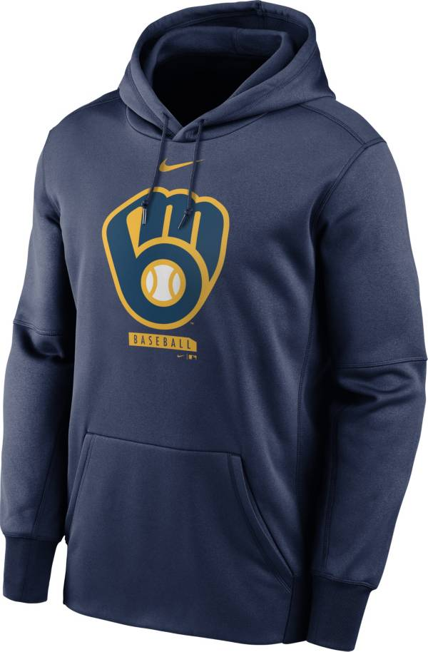 Nike Men's Milwaukee Brewers Navy Therma Logo Pullover Hoodie product image