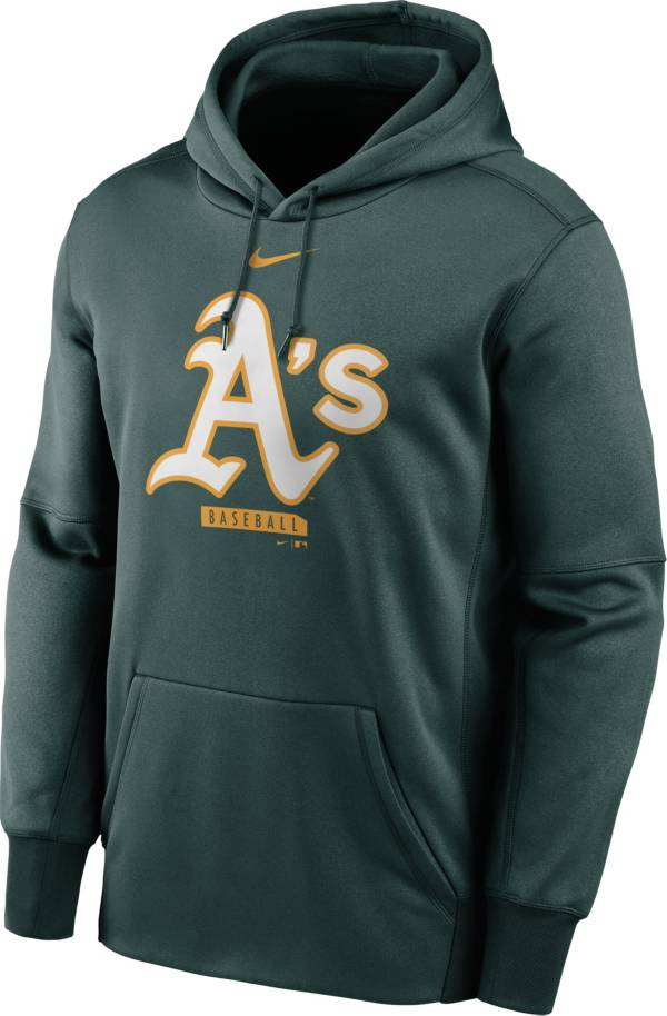 Nike Men's Oakland Athletics Green Therma Logo Pullover Hoodie product image