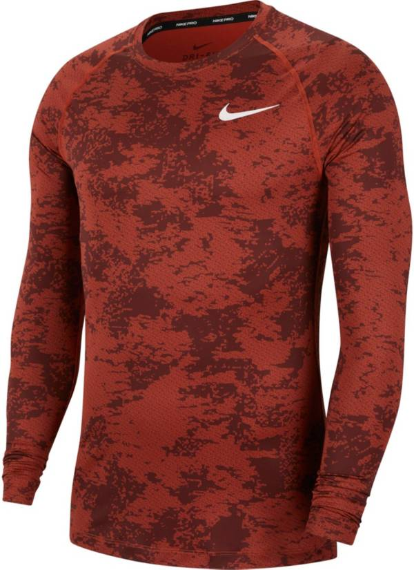 Nike Men's Pro 365 Camo Print Long Sleeve Shirt product image