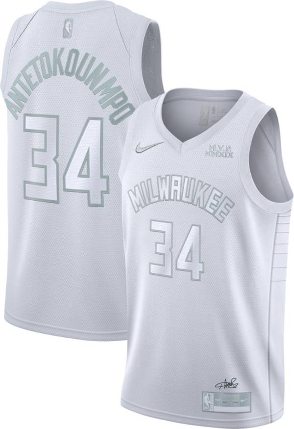Nike Men's Milwaukee Bucks Giannis Antetokounmpo #34 White MVP Dri-FIT Swingman Jersey product image