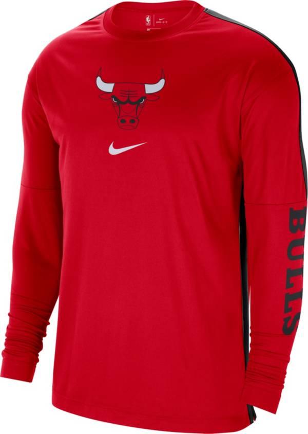 Nike Men's Chicago Bulls Red Dri-FIT Long Sleeve Shooting Shirt product image