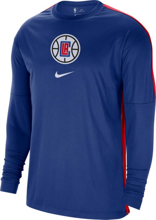 Nike Men's Los Angeles Clippers Blue Dri-FIT Long Sleeve Shooting Shirt product image