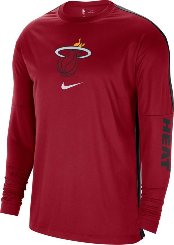 Nike Men's Miami Heat Red Dri-FIT Long Sleeve Shooting Shirt product image