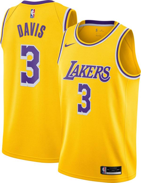 Nike Men's Los Angeles Lakers Anthony Davis #3 Yellow Icon Jersey product image