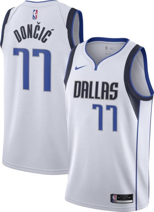 Nike Men's Dallas Mavericks Luka Doncic #77 2020 Dri-FIT Association Swingman White Jersey product image