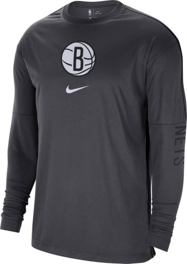 Nike Men's Brooklyn Nets Black Dri-FIT Long Sleeve Shooting Shirt product image