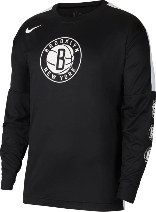 Nike Men's Brooklyn Nets Black Tonal Dri-FIT Long Sleeve Shooting Shirt product image
