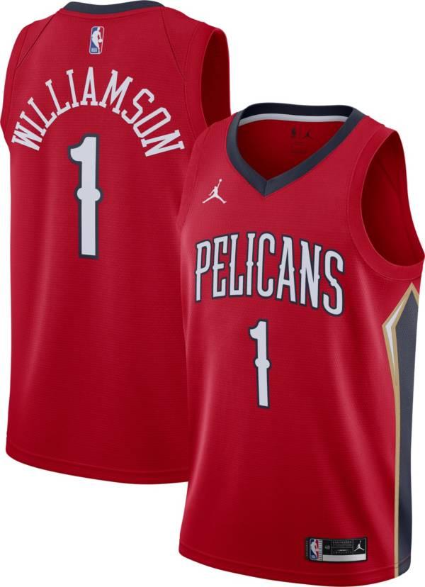 Jordan Men's New Orleans Pelicans Zion Williamson #1 Red 2020-21 Dri-FIT Statement Swingman Jersey product image