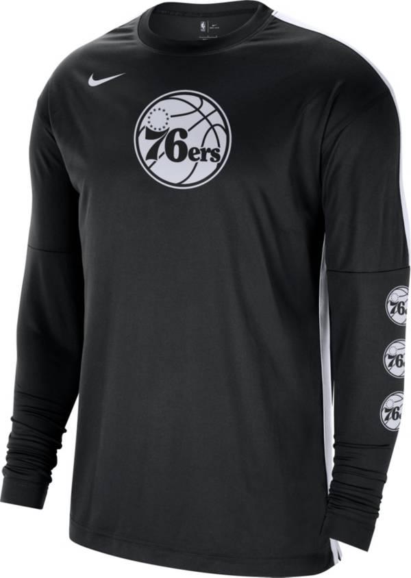Nike Men's Philadelphia 76ers Black Tonal Dri-FIT Long Sleeve Shooting Shirt product image
