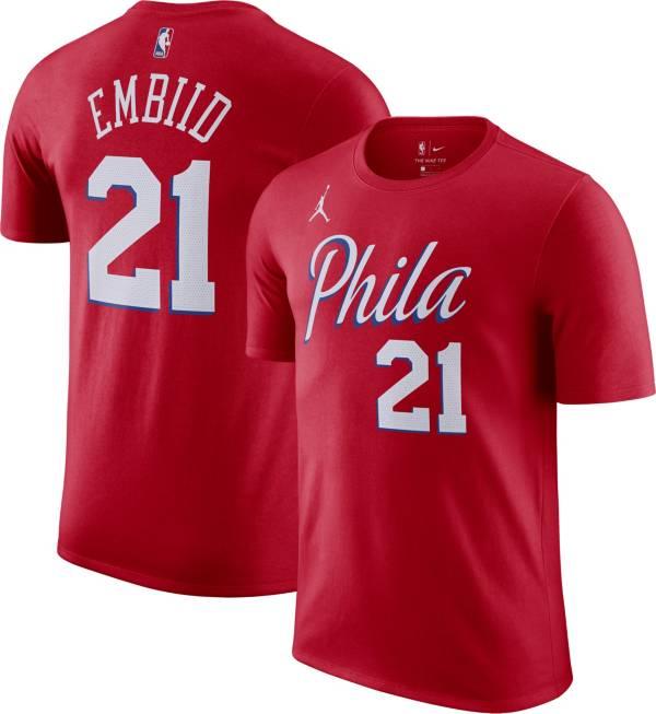 Jordan Men's Philadelphia 76ers Joel Embiid #21 Red Statement T-Shirt product image