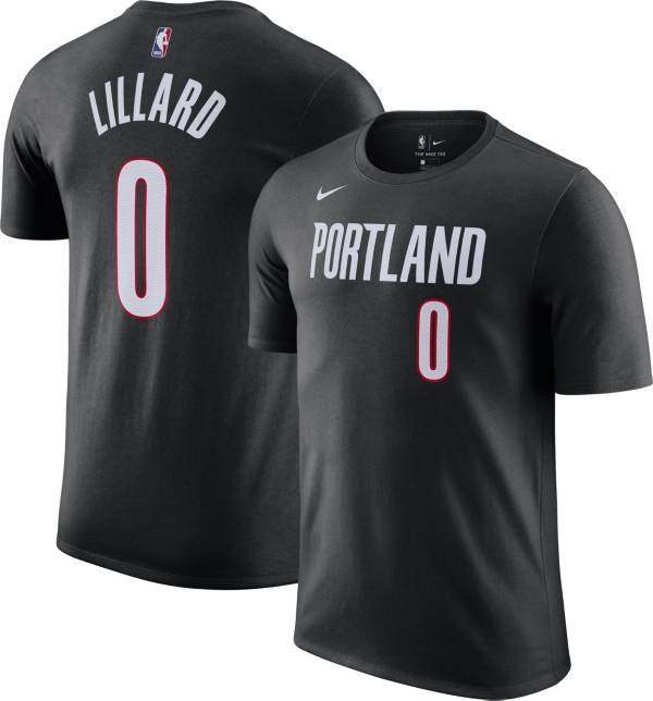 Nike Men's Portland Trail Blazers Damian Lillard #0 Cotton Black T-Shirt product image