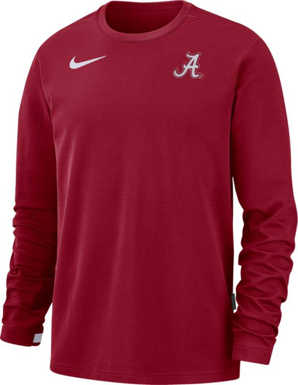 Nike Men's Alabama Crimson Tide Crimson Dri-FIT Coaches Pullover Long Sleeve Football T-Shirt product image