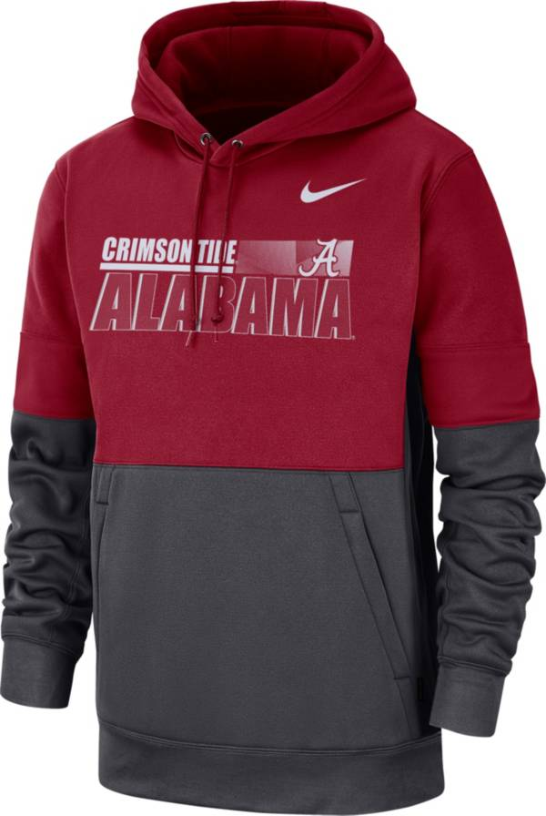 Nike Men's Alabama Crimson Tide Crimson Therma-FIT Sideline Fleece Football Hoodie product image