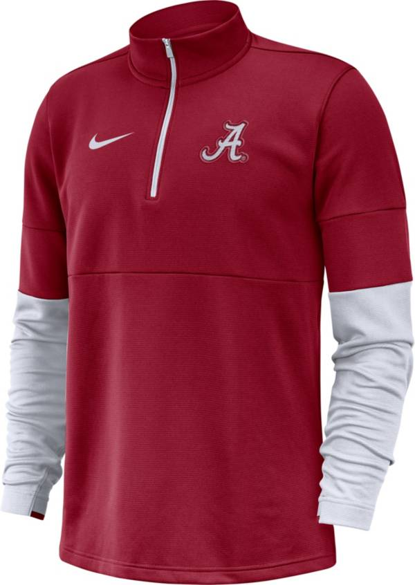 Nike Men's Alabama Crimson Tide Crimson Football Sideline Therma-FIT Half-Zip Shirt product image