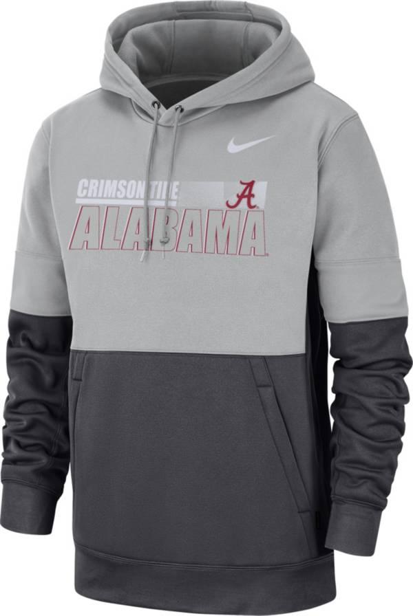 Nike Men's Alabama Crimson Tide Grey Therma-FIT Sideline Fleece Football Hoodie product image