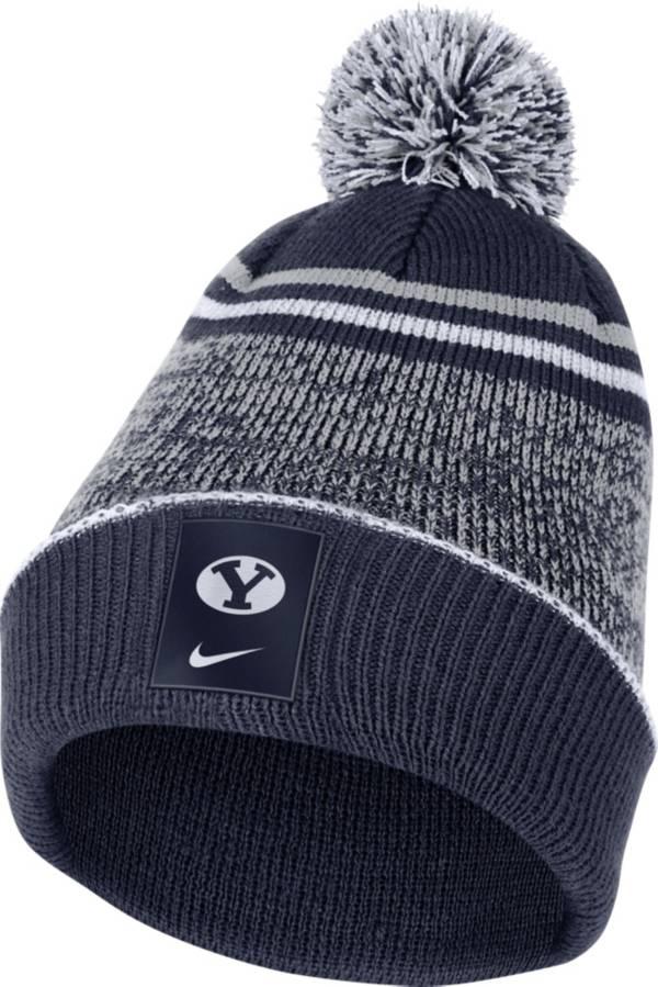 Nike Men's BYU Cougars Blue Football Sideline Cuffed Pom Beanie product image
