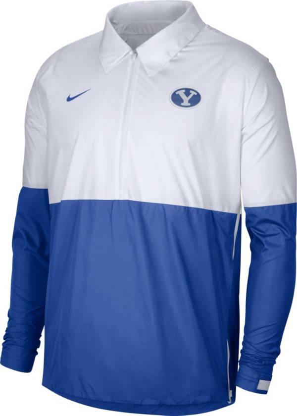 Nike Men's BYU Cougars White/Blue Lightweight Football Coach's Jacket product image