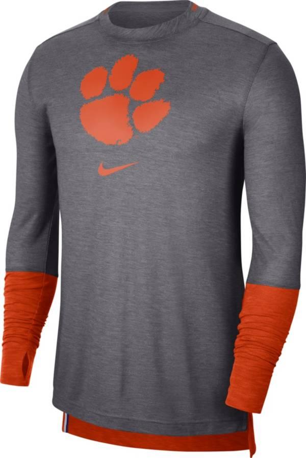 Nike Men's Clemson Tigers Grey Football Sideline Player Breathe Long Sleeve T-Shirt product image