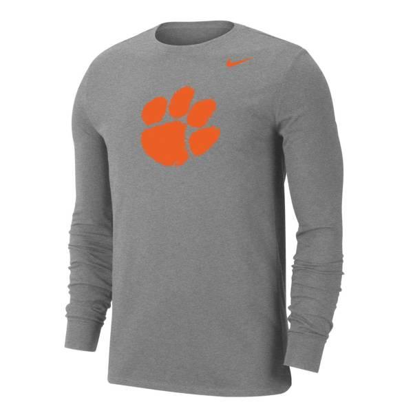 Nike Men's Clemson Tigers Grey Dri-FIT Long Sleeve T-Shirt product image