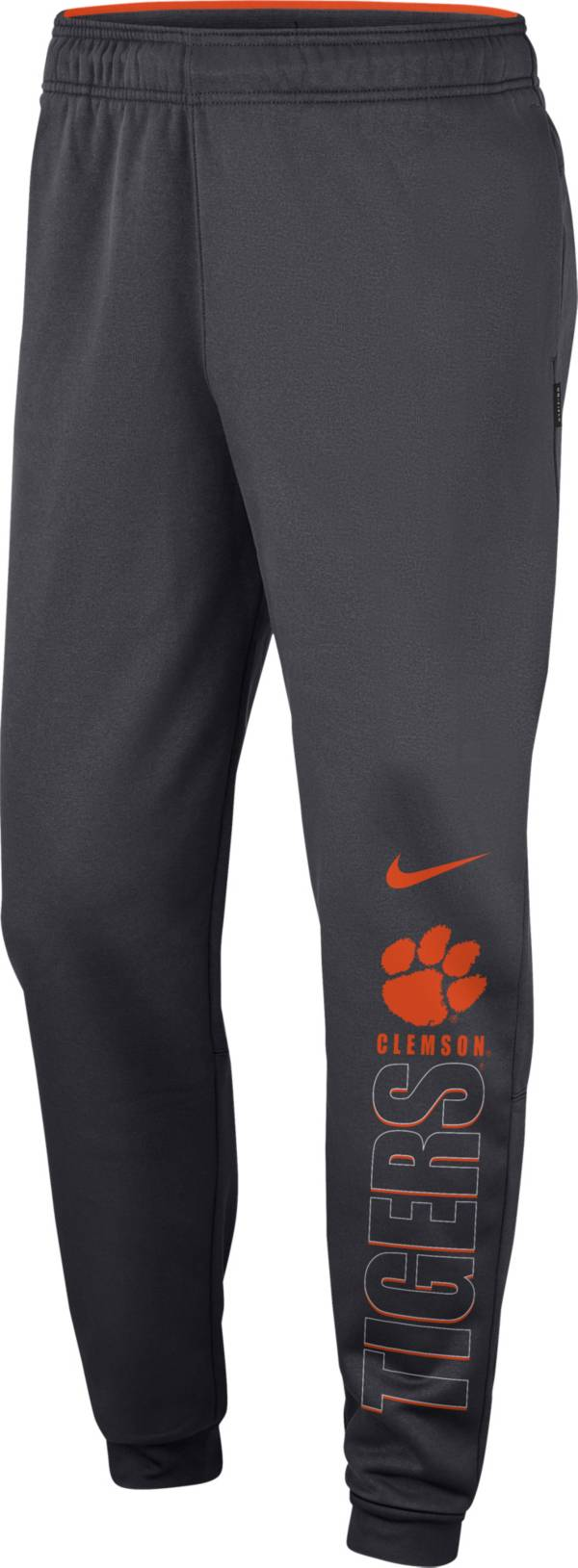 Nike Men's Clemson Tigers Grey Therma Tapered Pants product image