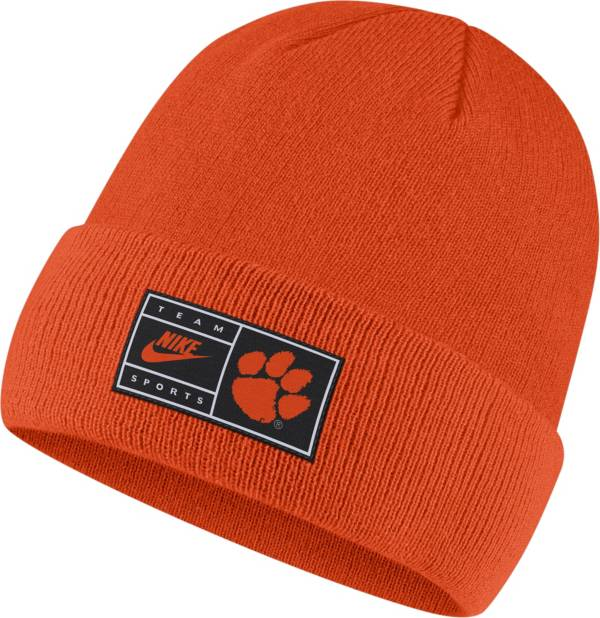 Nike Men's Clemson Tigers Orange Throwback Patch Cuffed Knit Beanie product image