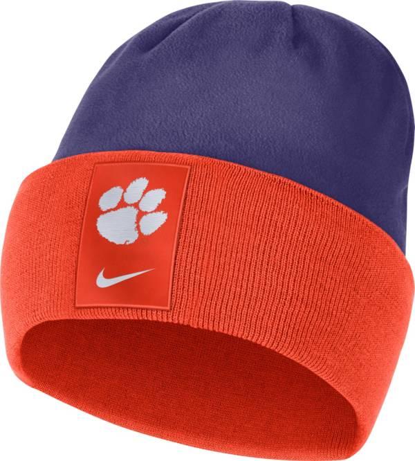 Nike Men's Clemson Tigers Orange/Regalia Dri-FIT Football Sideline Cuffed Knit Beanie product image