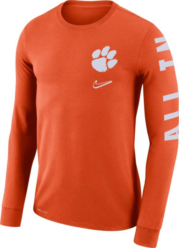 Nike Men's Clemson Tigers Orange 'All In' Mantra Long Sleeve T-Shirt product image
