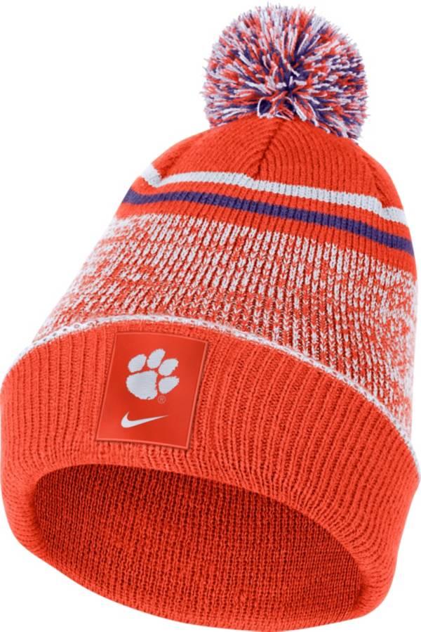 Nike Men's Clemson Tigers Orange Football Sideline Cuffed Pom Beanie product image