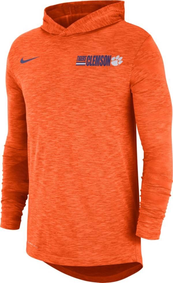 Nike Men's Clemson Tigers Orange Dri-FIT Slub Long Sleeve Hooded T-Shirt product image