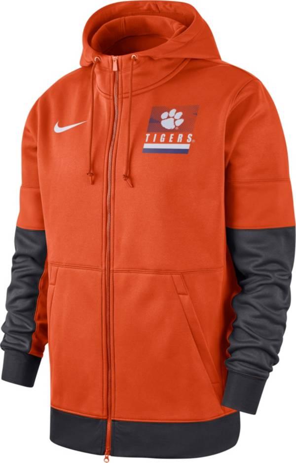 Nike Men's Clemson Tigers Orange Therma Football Sideline Full-Zip Hoodie product image