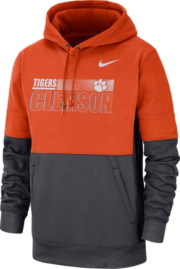 Nike Men's Clemson Tigers Orange Therma-FIT Sideline Fleece Football Hoodie product image