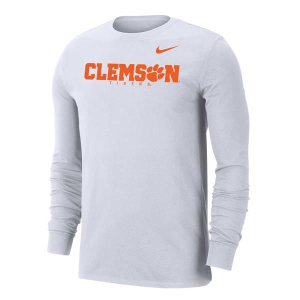 Nike Men's Clemson Tigers Dri-FIT Long Sleeve White T-Shirt product image
