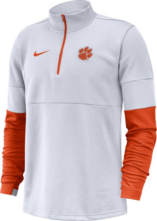 Nike Men's Clemson Tigers Football Sideline Therma-FIT White Half-Zip Pullover Shirt product image