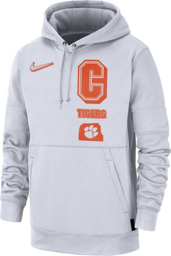 Nike Men's Clemson Tigers Therma Local Pullover White Hoodie product image