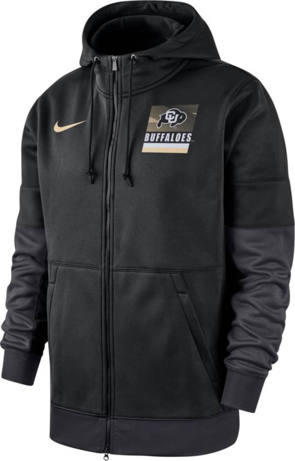 Nike Men's Colorado Buffaloes Therma Football Sideline Full-Zip Black Hoodie product image