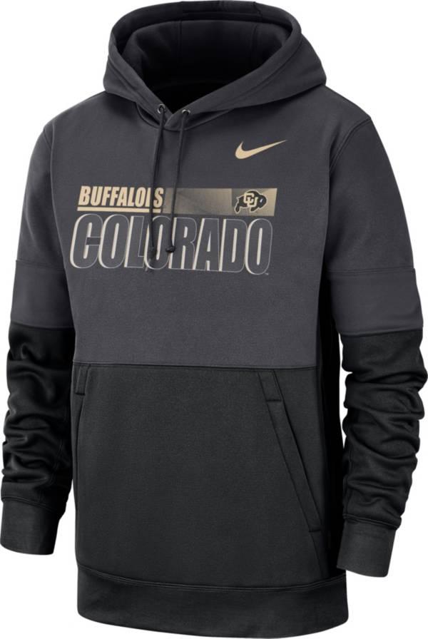 Nike Men's Colorado Buffaloes Grey Therma-FIT Sideline Fleece Football Hoodie product image