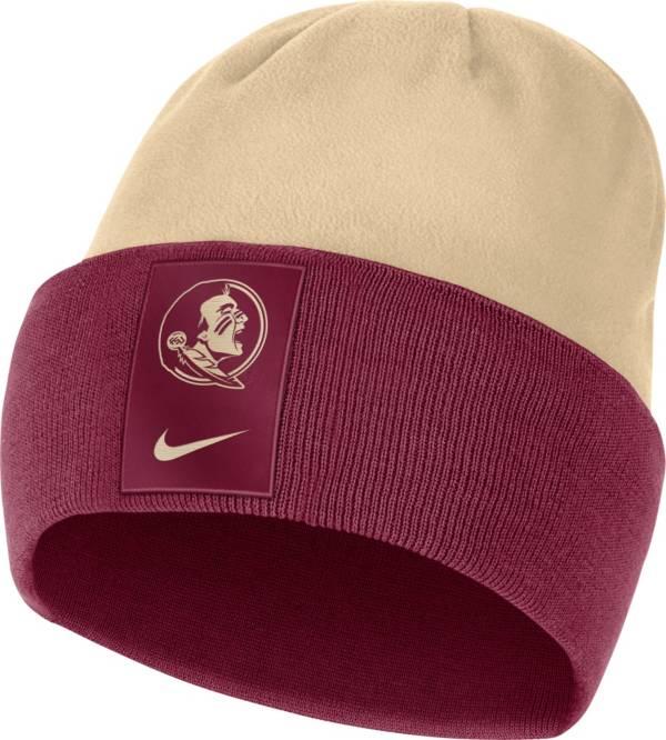 Nike Men's Florida State Seminoles Garnet/Gold Dri-FIT Football Sideline Cuffed Knit Beanie product image