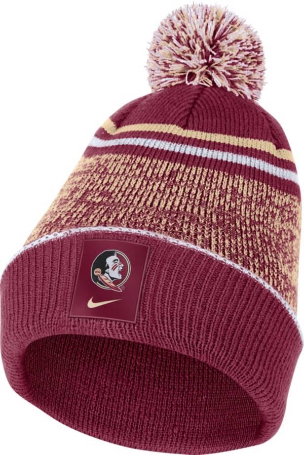 Nike Men's Florida State Seminoles Garnet Football Sideline Cuffed Pom Beanie product image