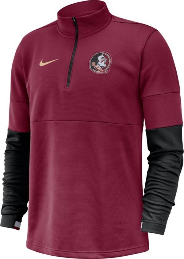 Nike Men's Florida State Seminoles Garnet Football Sideline Therma-FIT Half-Zip Pullover Shirt product image