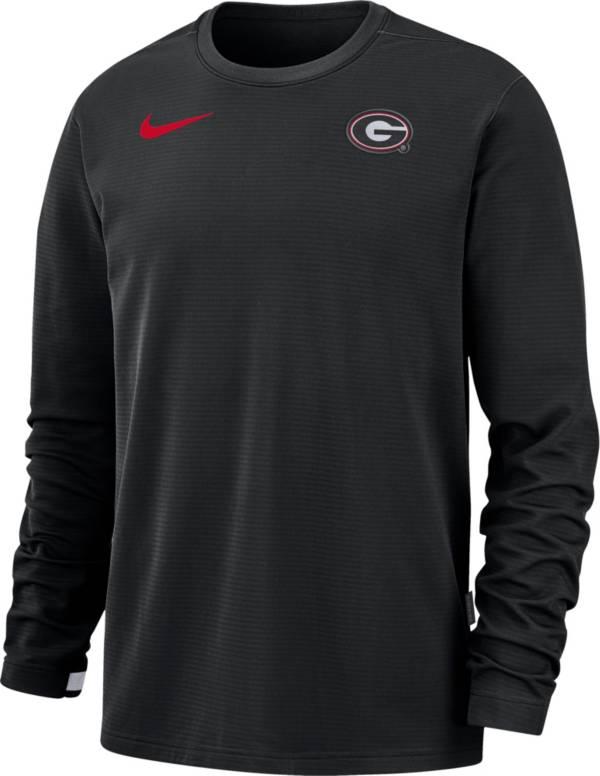 Nike Men's Georgia Bulldogs Dri-FIT Coaches Pullover Long Sleeve Football Black T-Shirt product image