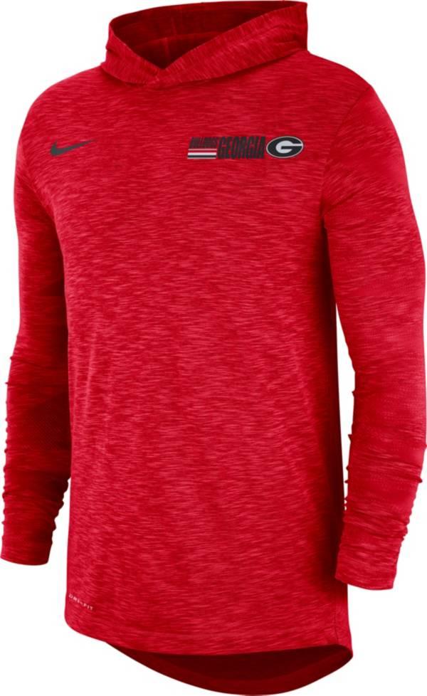 Nike Men's Georgia Bulldogs Red Dri-FIT Slub Long Sleeve Hooded T-Shirt product image