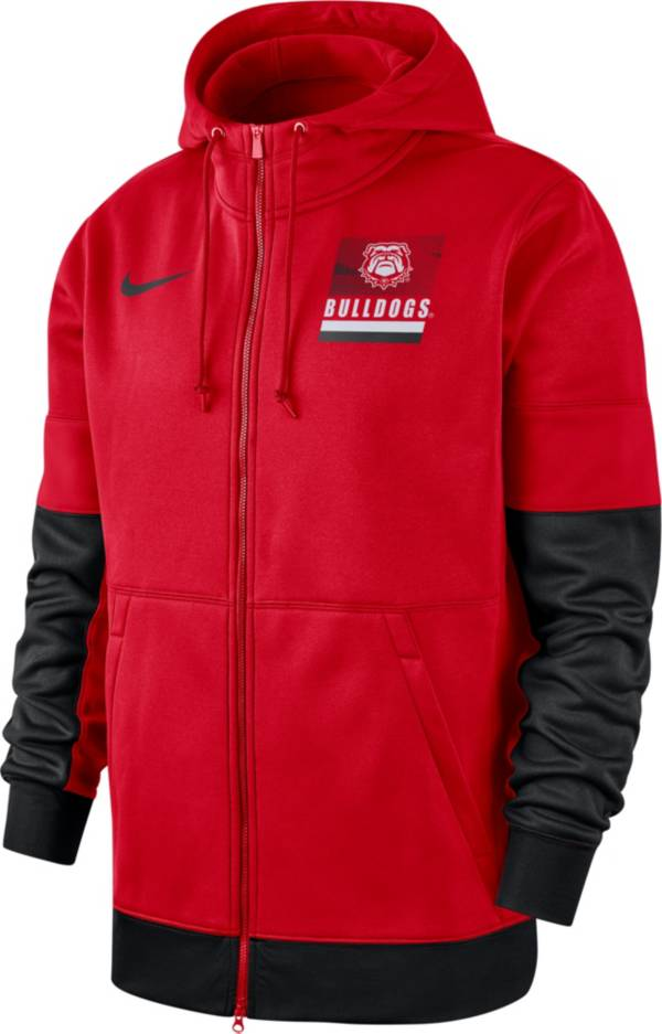 Nike Men's Georgia Bulldogs Red Therma Football Sideline Full-Zip Hoodie product image