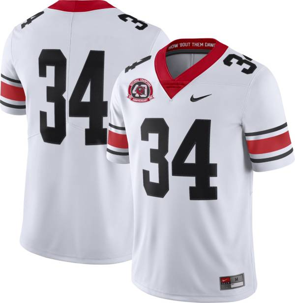 Nike Men's Georgia Bulldogs #34 Dri-FIT Limited Throwback Football White Jersey product image