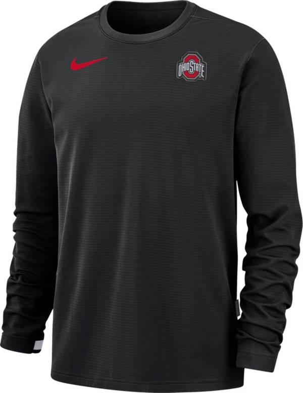 Nike Men's Ohio State Buckeyes Dri-FIT Coaches Pullover Long Sleeve Football Black T-Shirt product image